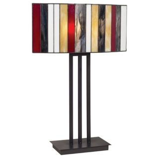 Striped Art Glass Iron Base Table Lamp   #65251