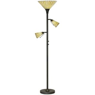 Tiffany Style Pleated Glass Tree Torchiere Floor Lamp   #23902