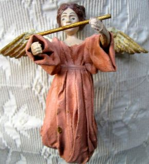 Vintage Christmas Angel Tree Ornament Papier Mache Pale Peach