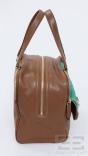 Brown Leather Turquoise Snakeskin Justine Satchel New with Tags