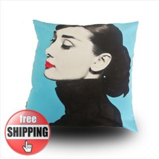 MODERN BLUE PRINT Audrey Hepburn PICTURE POP ART PILLOW CASE CUSHION