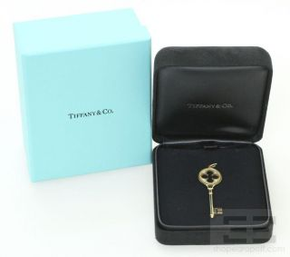 Tiffany Co 18K Yellow Gold Diamond Key Pendant