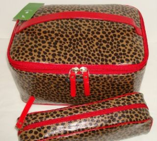 Kate Spade Colin Killington Leopard 2 PC Cosmetic Travel Makeup Case