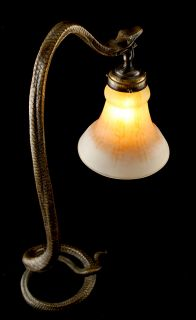HUGE ART DECO DAUM BRONZE TABLE LAMP KING COBRA SNAKE by EDGAR BRANDT