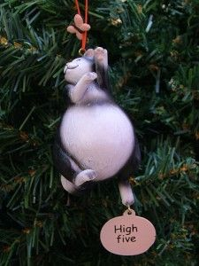 New Chubby Cat Black Kitty Kitten Butterfly Christmas Tree Ornament