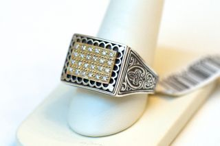 New Konstantino Mens 18K Gold Silver and Diamond Ring Size 11 $1380