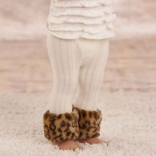 Mud Pie Baby Girl Toddler Leopard Faux Fur Trimmed Leggings Tights
