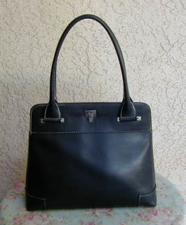 Black Soft Leather LAMBERTSON Truex Tote Bag Satchel Purse Italy