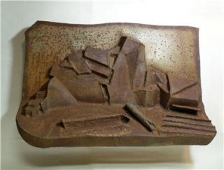 ABSTRACT sculpture wall hanging art rusty landscape * free US shipping