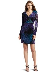 Retail $128 LBD Laundry by Design Womens Peacock Print Wrap Dress