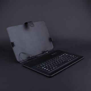 Black 9.7inch Faux Leather Keyboard Case Cover +Stylus for Android