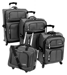 Leisure Lightweight 4 Piece Luggage Set Steel One Size Wheeled Rolling