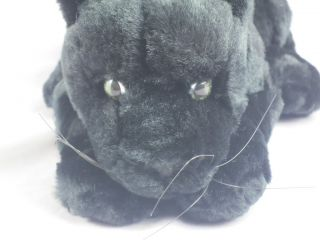 Black Plush Panther Cub Cat Lifelike Stuffed Animal Toy WOW 12