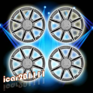 Spokes Chrome Black Insert Wheel Covers Hubcaps Center Hub Caps