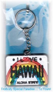 Hawaii Keychain Fridge Magnet Set License Plate Keyring Waikiki