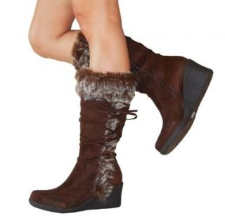 Stylish Faux Fur Cuff Suede Lace Mid Calf Wedge Boots