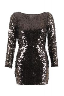 New Womens Long Sleeve Sequin Dress