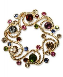 Jones New York Brooch, Gold Tone Multi Color Stone Wreath Pin Box