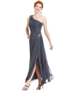 Alex Evenings Petite Dress, Sleeveless One Shoulder Beaded Gown
