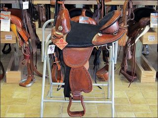 AW104M Hilason Treeless Western Trail Barrel Saddle 16