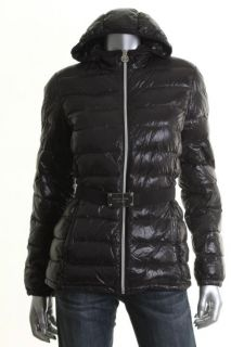 Michael Kors New Black Belted Hooded Zip Front Puffer Coat Jacket M