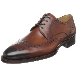 Magnanni Mens Bruno Wingtip Oxford Lace Up Shoes 7 5 Cognac Burnished