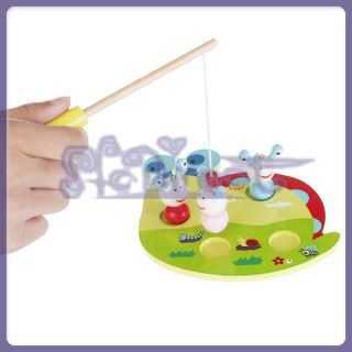 Kids Fun Game MAGNETIC FISHING GAME 3 Snails 1 Pole / Rod Childrens