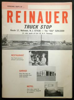Mahwah NJ Early 1960s REINAUER TRUCK STOP Route 17 US Atlas, great