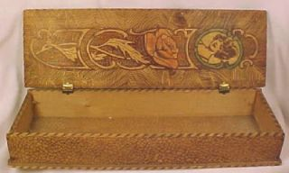 Nice Art Deco Lady Rose Pyrography Pencil Box WOW
