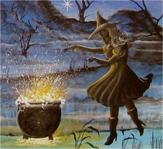 Halloween Art Haunted House Witches Conjuring Spells Hocus Pocus
