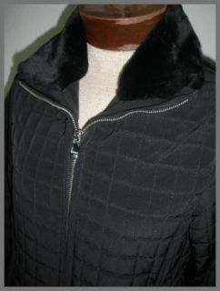 Marc New York Black Quilted Faux Fur Collar Coat Jacket M P Petite