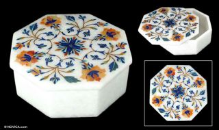 Floral Four Marble Inlay Jewelry Box India Art Novica