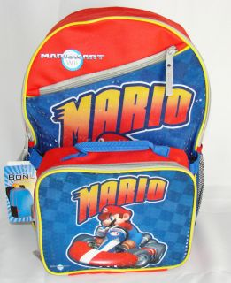SUPER MARIO MARIOKART WII Canvas Backpack + Detachable Lunch Case