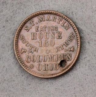 Civil War Token St Martin Eating House Columbus Ohio Liberty Head with