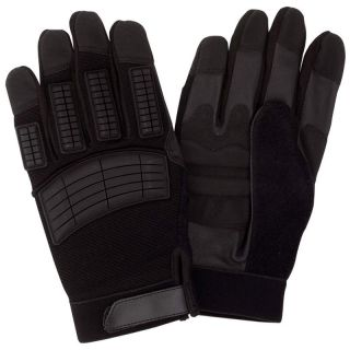 Mens Black Motorcycle Biker Full Finger Gloves w Leather Safety Grips