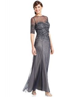 Adrianna Papell Dress, Elbow Sleeve Sequined Beaded Gown