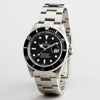 Mens Rolex Submariner Date Stainless Steel Watch Black Sub 16610