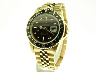 Mens Rolex Solid 18K Yellow Gold GMT Master Date Watch Black 16758