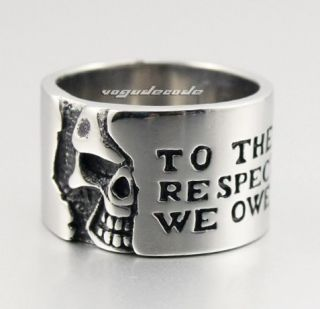 Cool 316L Stainless Steel Skull Mens Ring B027 Biker Jeweller