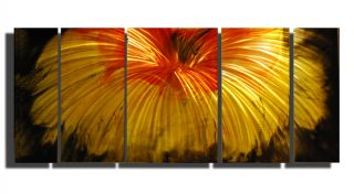 Metal Wall Art 56 x 24 Modern Orange Red Flower Colored Sculpture