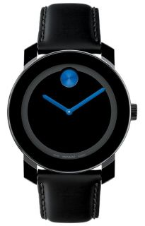 Movado Swiss Bold Mens Black Leather Strap Black Dial Blue Accent