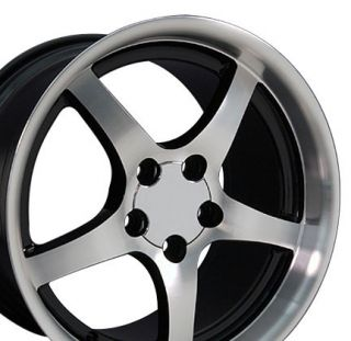17 18 9 5 10 5 Black Corvette C5 Style Deep Dish Wheels Rims Fit