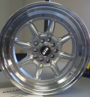 15X8 STR 504 4X100 +25 SILVER WHEEL FIT HONDA CIVIC SI CRX FIT EG6 EK9