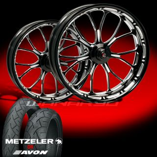 Heathen Contrast Cut Wheels Tires for 2009 13 Harley Touring