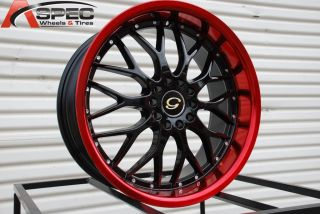 18X8 G LINE G503 WHEEL 5X100/114.3 +40 BLACK RED RIM FITS CELICA CIVIC
