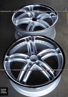 750 520 RIMS Wheels XIX X15 WHEELS HYPER SILVER LIP WHEELS STAGGERED