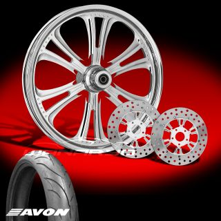 Czar 23 Chrome Front Wheel, Tire & Dual Rotors for 2000 13 Harley