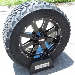20 Black Moto Metal Wheels Nitto Trail Grappler Tires Silverado 1500