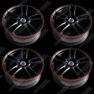 Asuka Gloss Black Red Stripe Wheels 17x7 inches PCD 4x100 114 4pc New