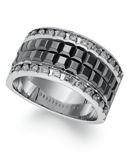 Mens Diamond Ring, Sterling Silver and Black Enamel Diamond Ring (3/4
